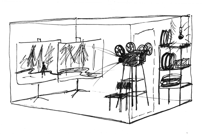 sketch of the installation, 1996